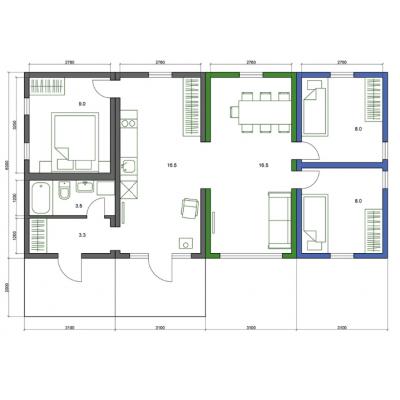 Modularna kuća, 5-sobni - raspored