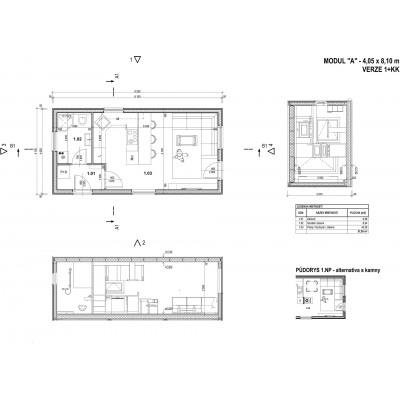 Modularna kuća 1-sobni - raspored